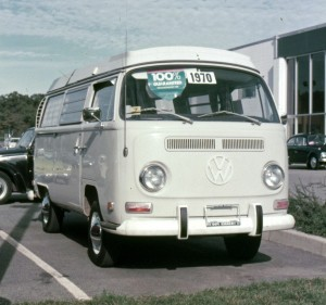 The 1970 Volkswagen Campmobile that Elaine Larsson's father bought in 1972 for family camping trips all over the U.S.