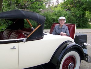 Margaret Dunning in the rumble seat of her 1930 Packard 740 Custom Eight Roadster.