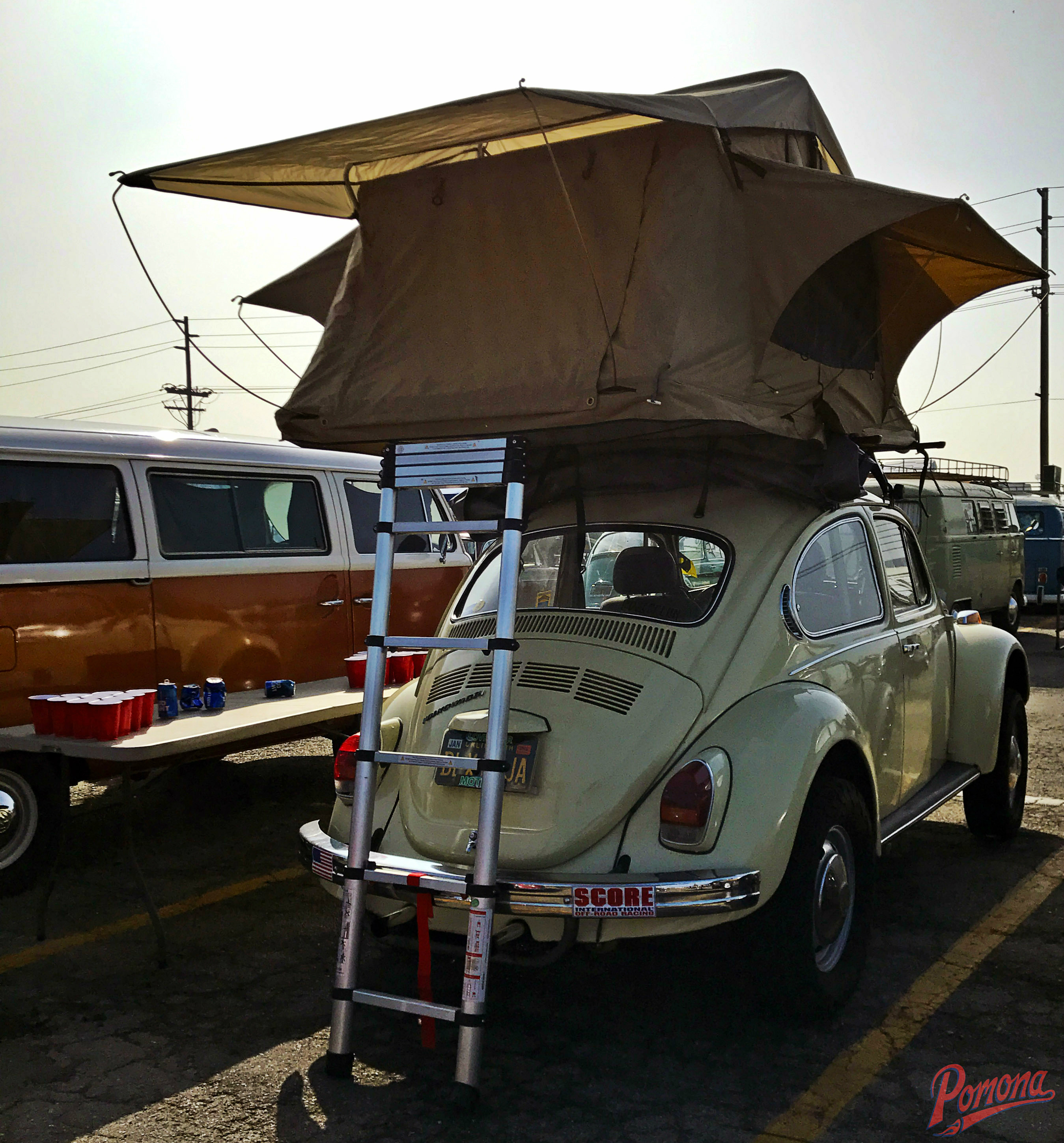 VW Baja Bug With Camping Tent on Top