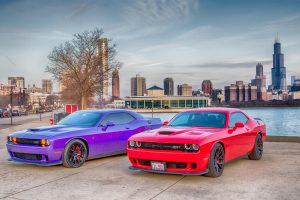 Dodge HellCat Against Chicago Skyline