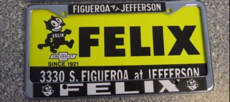 Image of Felix Chevrolet License Frame - '60's / '70's era