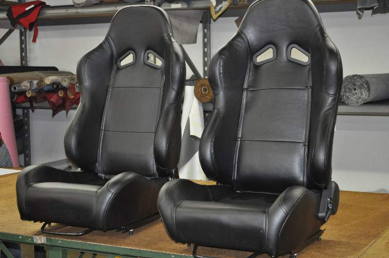Image of Black Vinyl Bucket Sport Seats